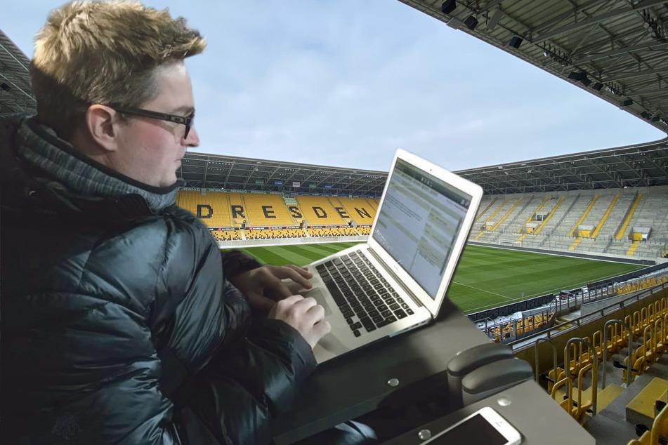 Thomas Nahrendorf - hier noch vor Corona im Einsatz - berichtet für die Morgenpost und TAG24 von und über Dynamo.
