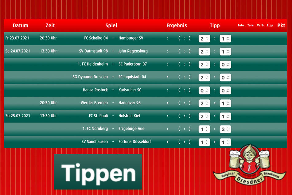 Jetzt direkt den 1. Spieltag der 2. Bundesliga tippen!