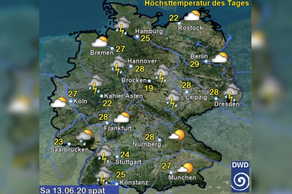 So soll das Wetter am morgigen Samstag werden.