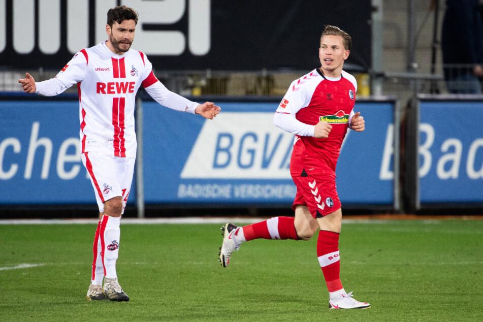 Wütende Gesten: Köln um Kapitän Jonas Hector (l.) gingen beim SC Freiburg unter.