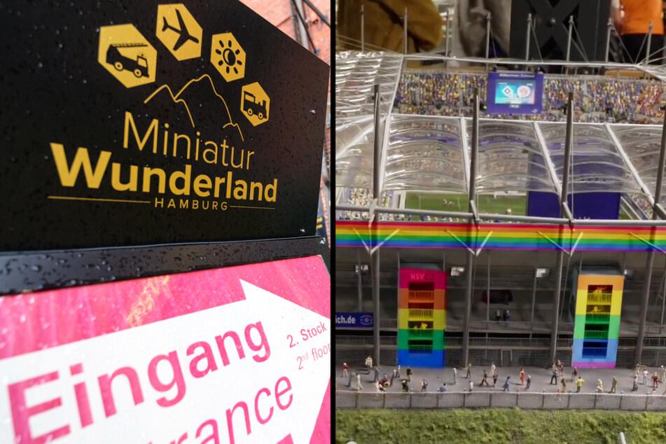 Die kleine Version des Volksparkstadions im Hamburger Miniatur Wunderland wurde in den Regenbogenfarben geschmückt.