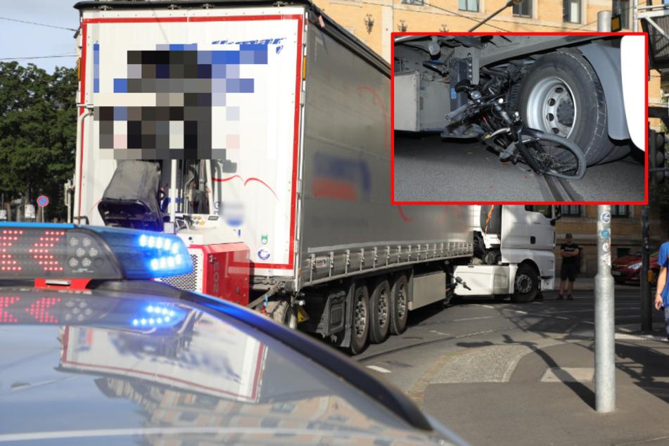 Schwerer Unfall in Löbtau: Laster erfasst Radfahrerin beim Abbiegen