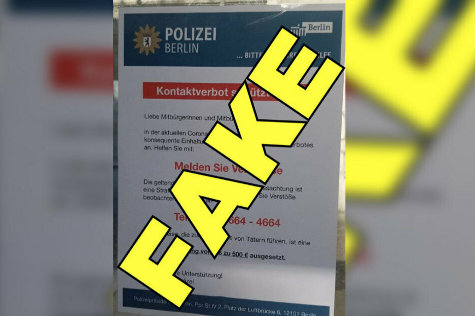Plakat ist gefälscht: Die Polizei Berlin hat sich von dem Aushang distanziert.
