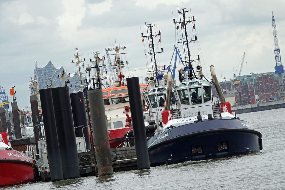 Schlepperboote liegen in der Nähe des Museumshafens Övelgönne an.