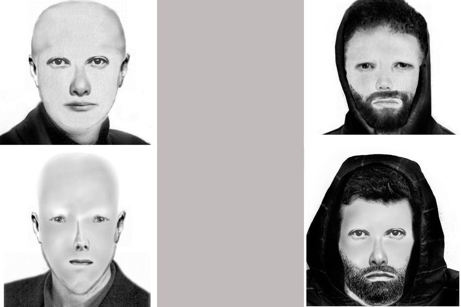 Links die beiden unabhängig voneinander angefertigten Phantombilder des ersten Täters, rechts die des zweiten.