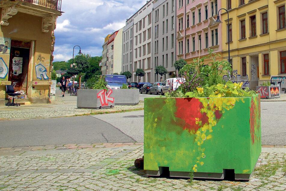 Nun auch in Pieschen: Blumenkübel gegen Kreuzungs-Parker