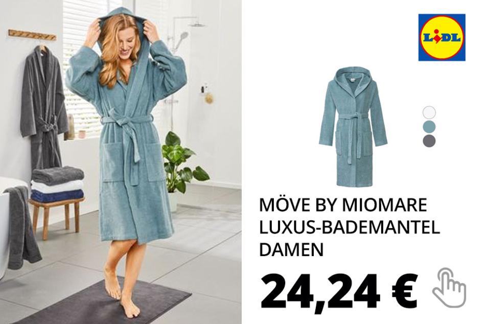 Möve by miomare Luxus-Bademantel Damen, Baumwolle