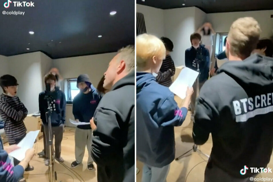 Coldplay posted a TikTok of a recording session with BTS.
