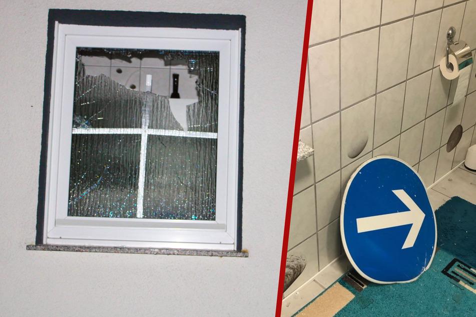 Verkehrsschild schleudert nach Unfall durch die Luft und landet in einem Badezimmer