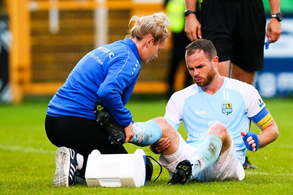 Tobias Müller (28) verletzte sich beim Auswärtsspiel gegen die BSG Chemie Leipzig am rechten Knie.