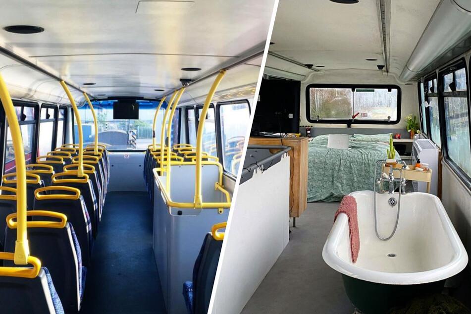 So (l.) sah der Bus noch vor drei Jahren aus. Heute (r.) ist es sehr viel gemütlicher!