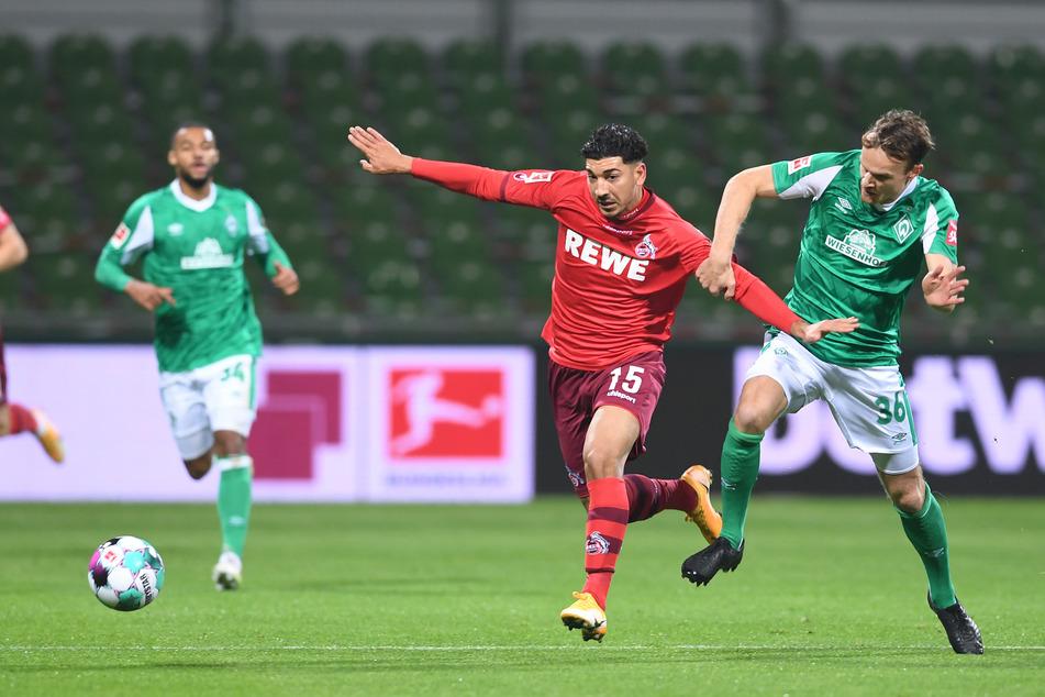 Werders Christian Groß (r.) kämpfte gegen Kölns Dimitrios Limnios um den Ball.