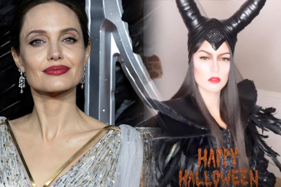 """Fotomontage: Hollywood-Star Angelina Jolie (45/l.) spielte im Disney-Film die dunkle Fee """"Maleficent"""". Zu Halloween schlüpfte Model und Moderatorin Rebecca Mir (28) in das aufwendige Hexen-Kostüm."""