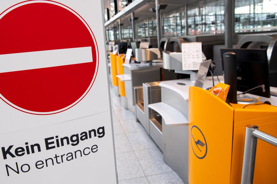 Lufthansa-Check-In-Schalter sind am Flughafen München geschlossen.