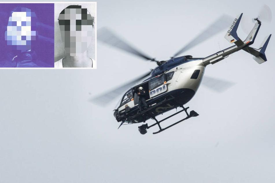 Bei der Suche nach Nico Schäfer (l.) und Henri Hahn (r.) setzte die Polizei am Dienstag auch einen Hubschrauber ein.