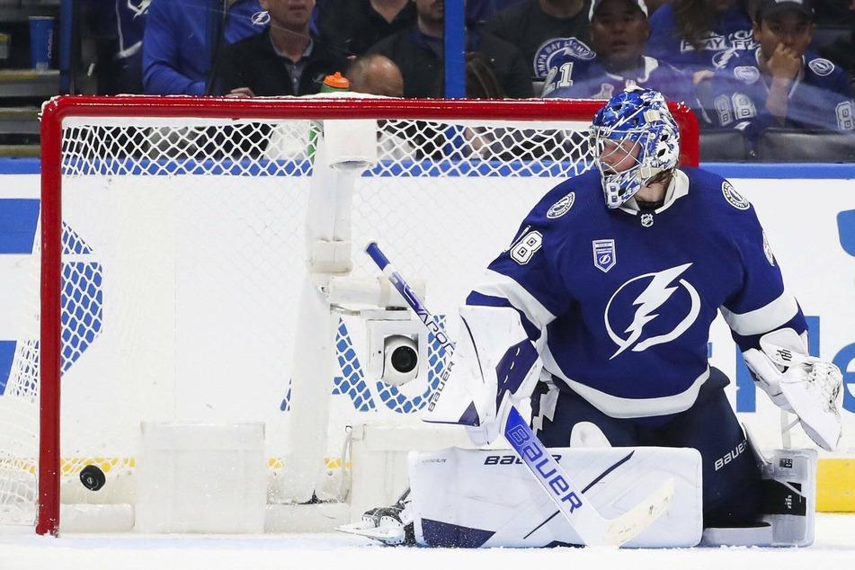 Lightning goaltender Andrei Vasilevskiy looks on as a third goal gets past him on Tuesday night.