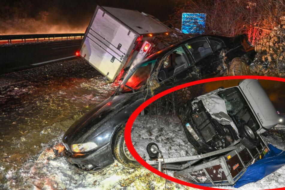 Unfall auf der A4: BMW kollidiert mit Transporter, beide schleudern in die Böschung!