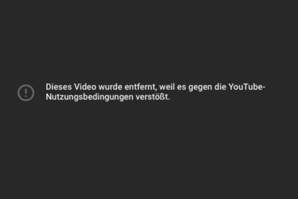 Etwa auf YouTube wurde der Clip gelöscht. (Screenshot)