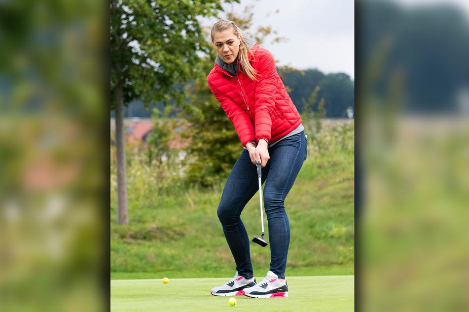 Kristina Kicka gab bei ihrer Golf-Premiere in Herzogswalde eine gute Figur ab.