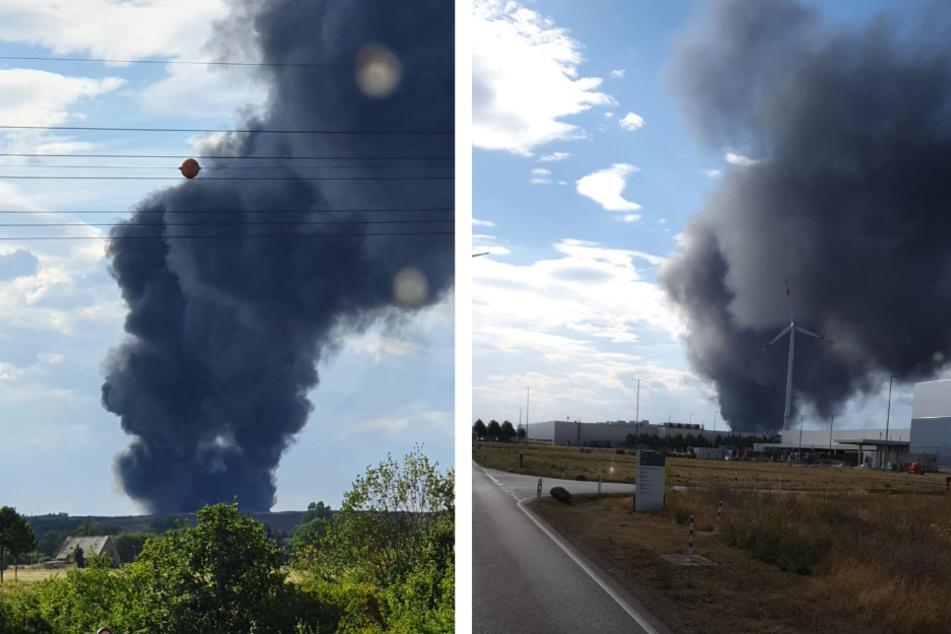 Die entstandene Rauchwolke war auch aus großer Entfernung noch deutlich zu sehen.