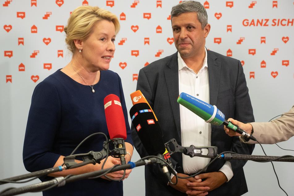 Spitzenkandidatin Franziska Giffey (43, links) und Co-Parteichef Raed Saleh (44) müssen sich jetzt Gedanken machen, mit wem die SPD in Berlin regieren will.