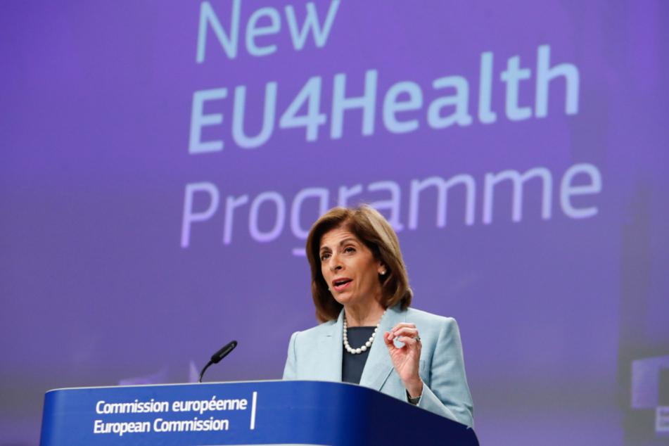 Brüssel: Stella Kyriakides, EU-Kommissarin für Gesundheit, spricht während einer Video-Pressekonferenz im EU-Hauptquartier.