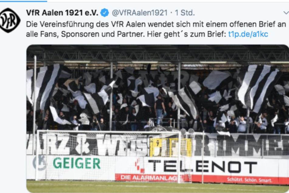 Der VfR Aalen teilte den offenen Brief auf Twitter.