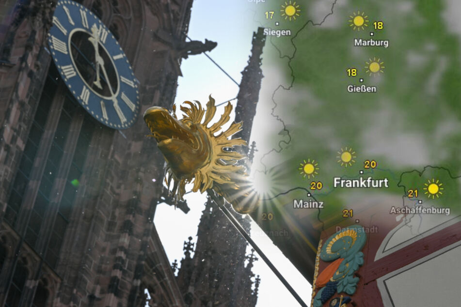 """Zwischen Dom und der """"Goldenen Waage"""" in der neuen Altstadt von Frankfurt blitzt die Sonne hervor."""