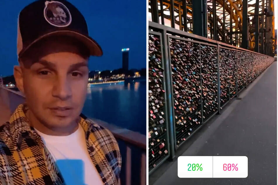 Pietro Lombardi hat einen abendlichen Spaziergang über die Kölner Hohenzollernbrücke gemacht und die Liebesschlösser bestaunt. (Fotomontage)