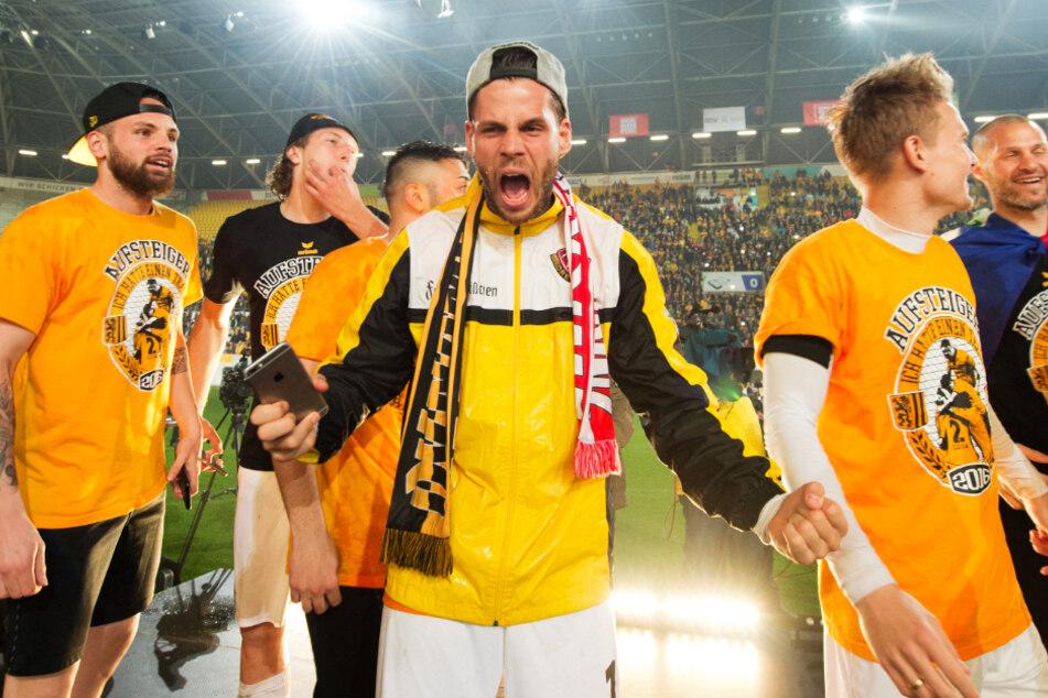 Justin Eilers feierte mit Dynamo Dresden 2016 den Aufstieg in die 2. Bundesliga.