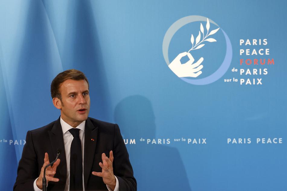 Emmanuel Macron, Präsident von Frankreich, äußert sich beim Pariser Friedensforum im Elysee-Palast.