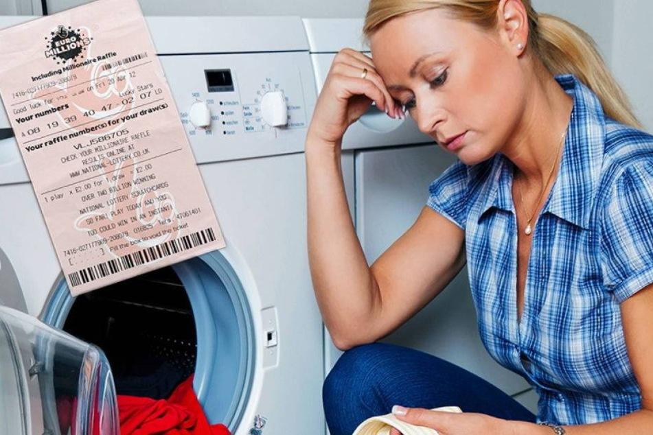 Frau steckt Lottoschein in die Waschmaschine. 33 Mio. Pfund futsch?