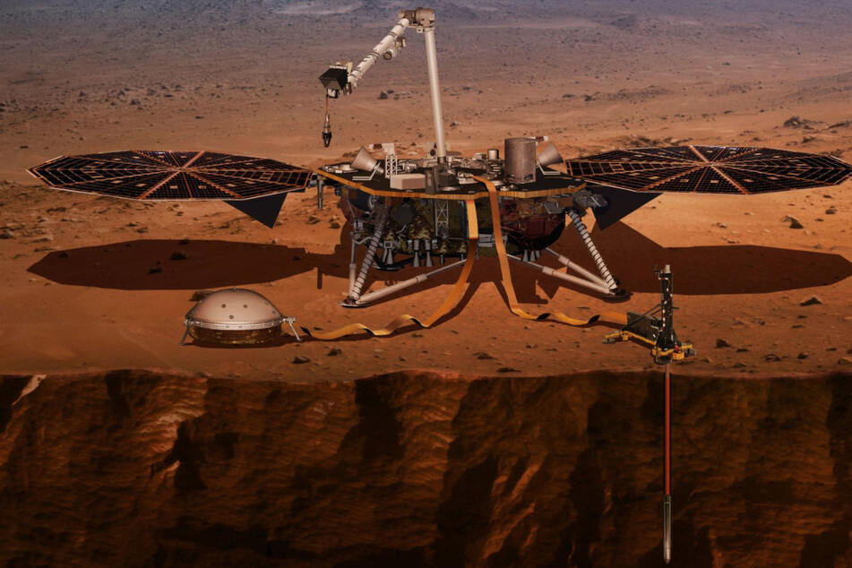Nach ihrem Start am 5. Mai landete die NASA-Sonde InSight am 26. November 2018 etwas nördlich des Marsäquators und entfaltete seine Solarpanele (Visualisierung).