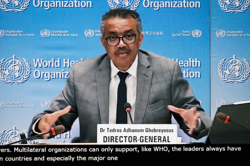 Tedros Adhanom Ghebreyesus, Generaldirektor der Weltgesundheitsorganisation (WHO), spricht bei einer Online-Pressekonferenz.
