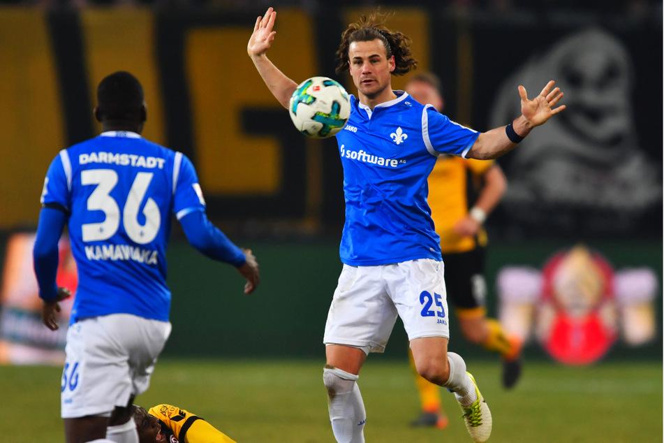 Yannick Stark (30, Nummer 25) kickte mit Darmstadt in der 2. Liga auch gegen Dynamo.