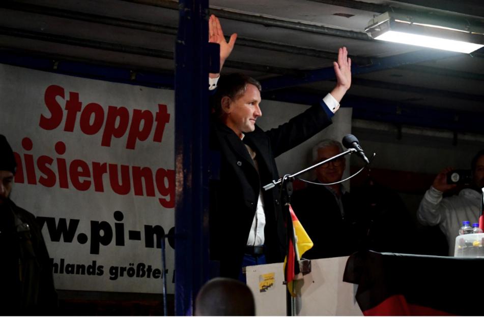 Björn Höcke, Fraktionsvorsitzender der AfD in Thüringen, Mitte Februar bei Pegida.