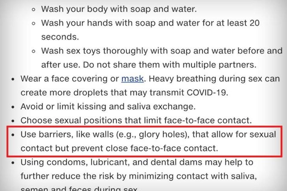 """Auf ihrer Internetseite listet das """"Center for Disease Control"""" Tipps auf, mit denen eine Coronavirus-Infektion auch beim Geschlechtsakt vermeidet werden soll."""