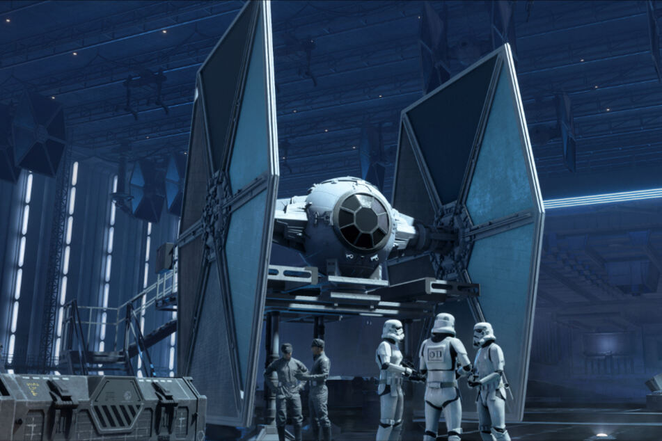 """Wollt Ihr X-Wing und Co. von außen betrachten, müsst Ihr dazu in den Hangar zurückkehren. Keine Sorge, sowohl während als auch zwischen den Kämpfen im All macht """"Star Wars: Squadrons"""" eine gute Figur. Die Grafik gehört ohne Frage zu den besten, die wir bisher in einem VR-Titel gesehen haben."""