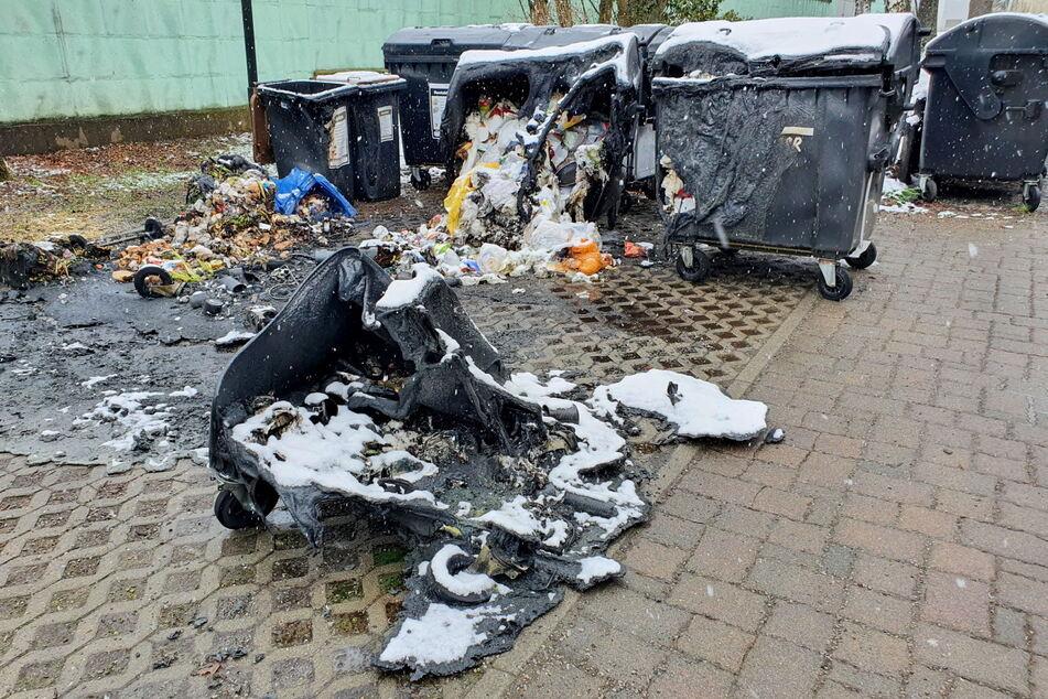 Brand-Serie reißt nicht ab! Wieder mehrere Mülltonnen in Chemnitz abgefackelt
