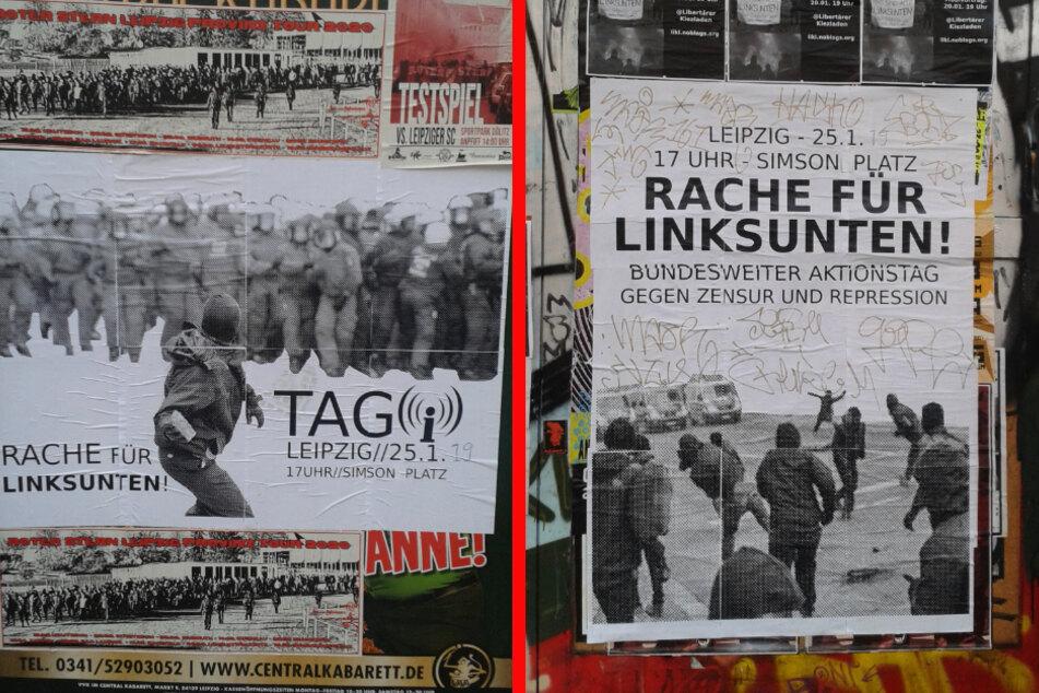 """Plakate, die im Vorfeld einer Demo gegen das Verbot der Online-Plattform Indymedia zur """"Rache für Linksunten"""" aufgerufen hatten. (Archivbild)"""