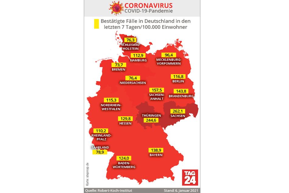 Laut den Angaben des RKI sind Sachsen und Thüringen aktuell am schlimmsten vom Coronavirus getroffen.