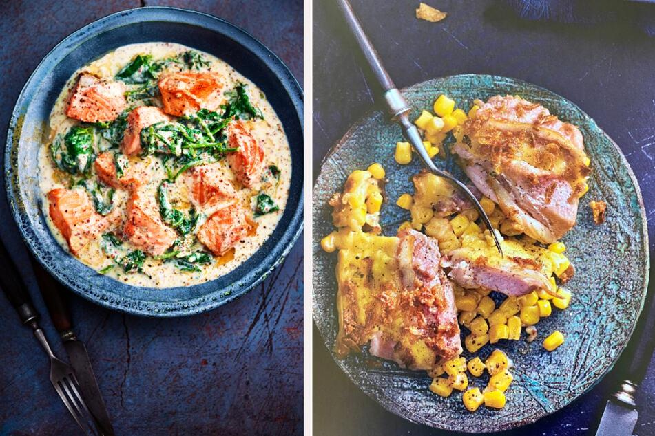 Statt Nudeln: Wie wäre es mal mit Lachswürfel in Prosecco-Senf-Soße (links) oder Brutzelqfleisch mit Röstzwiebeln?