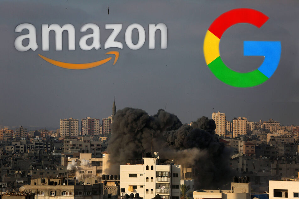 Google and Amazon have come under fire from their own employees for signing a contract with the Israeli military (stock images).