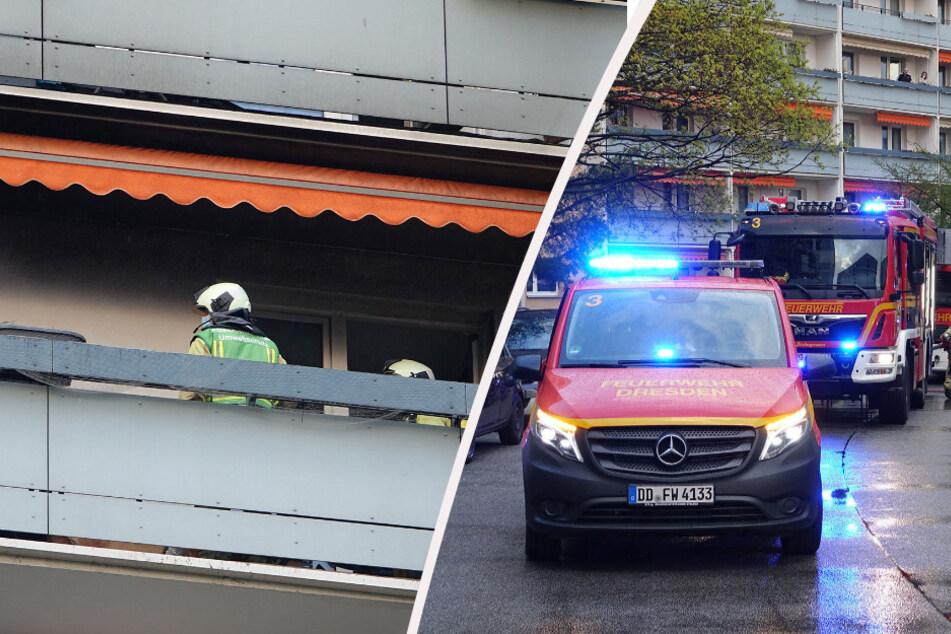 Dresden: Feuer in Johannstadt: Balkonbrand im neunten Stock, Mutter und Kind können sich retten