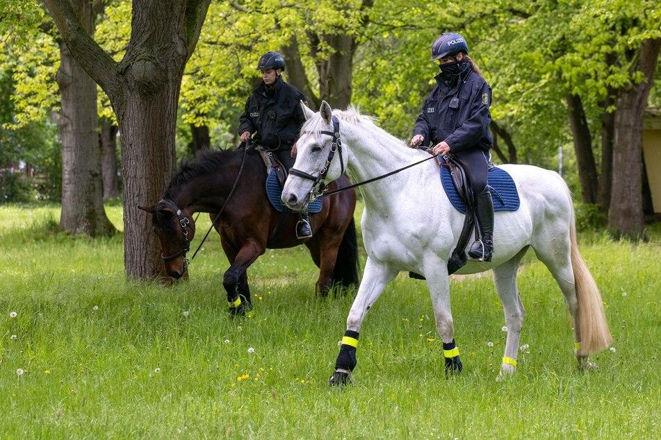 Zwei Polizistinnen sind mit ihren Rössern unterwegs.