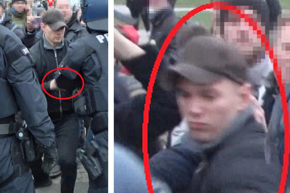 Die Polizei in Nordhessen veröffentlichte diese Bildmontage, welche den gesuchten Mann bei einer Querdenker-Demonstration in Kassel zeigt.