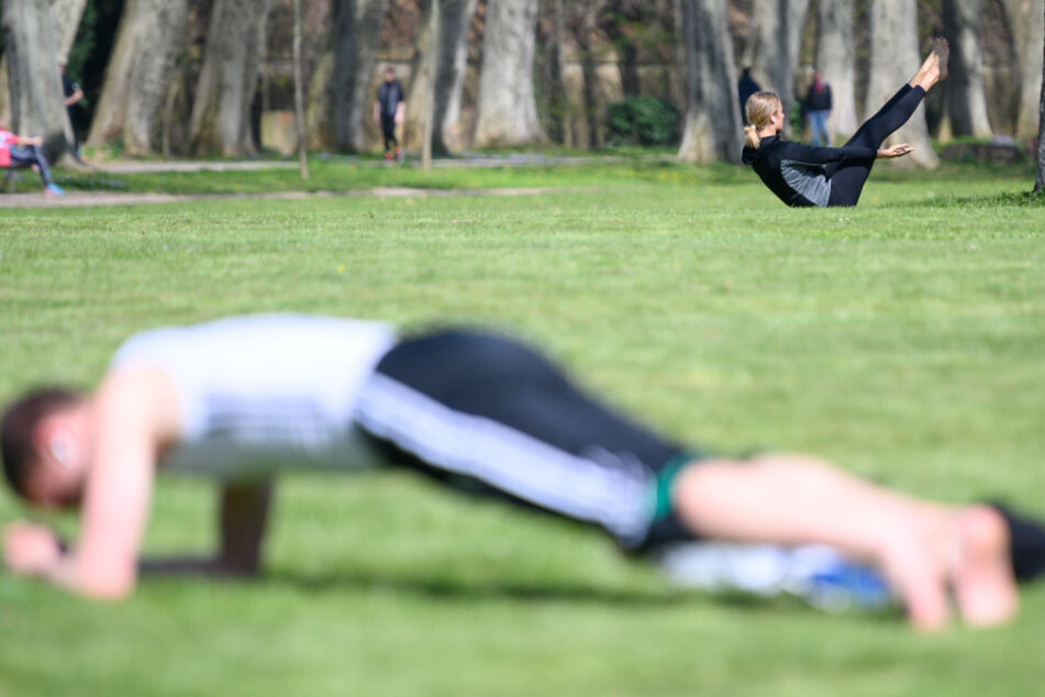 Im Schlossgarten machen Menschen Sport.