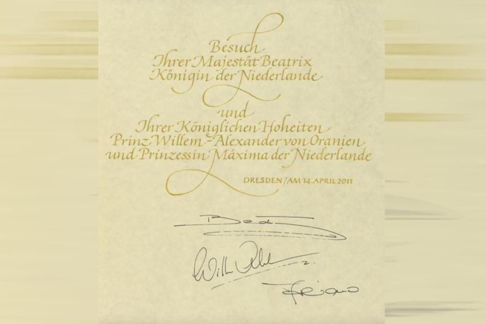 Einer der Gästebucheinträge von Königin Beatrix der Niederlande.