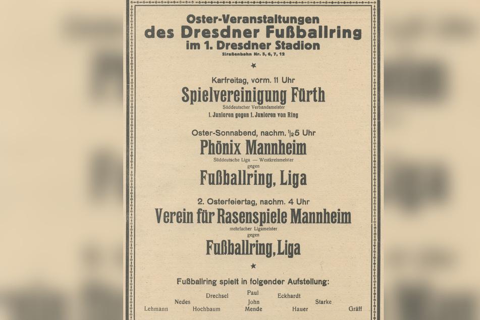 Ein Ankündigungsplakat von 1923. Im ersten reinen Fußballstadion (ohne Laufbahn) fanden regelmäßig Spiele statt.