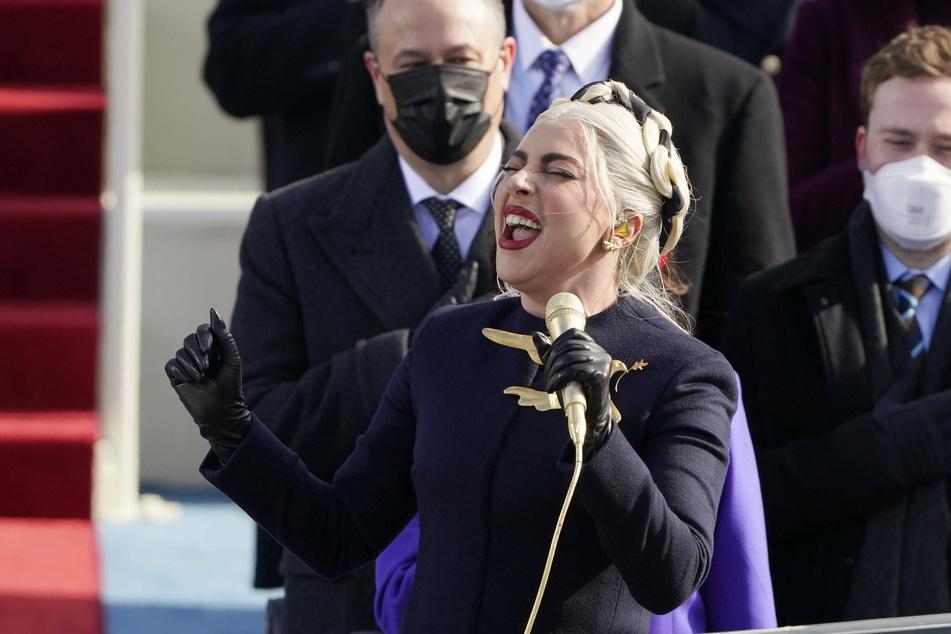 Lady Gaga singing the national anthem.